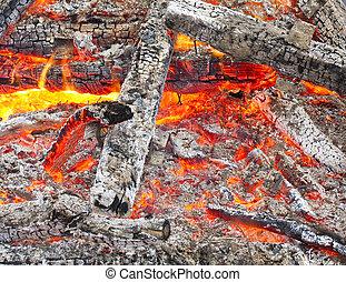 ogień, zamknięcie, wizerunek, drewno, do góry