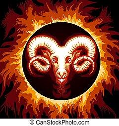 ogień, zodiak, aries, koło, znak