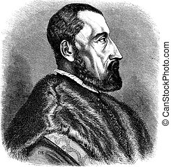 16th century (1557) engraving of Ogier Ghiselin de Busbecq, a Flemish Writer, Herbalist and Austrian Diplomat, vintage engraved illustration. Le Magasin Pittoresque - Larive and Fleury - 1874