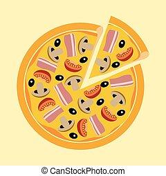 ogive, carne, assortito, pomodori, funghi, pizza
