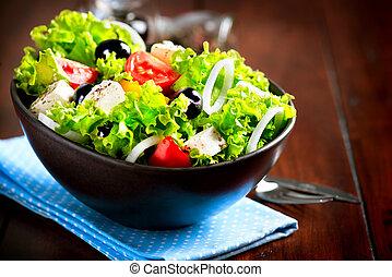 ogive, ciotola insalata, greco, formaggio, feta, pomodori