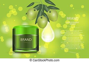 ogive, drop., collageno, vaso, cosmetico, bokeh, verde, lusso, fondo, siero, crema