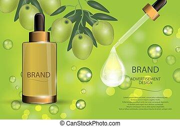 ogive, drop., spruzzo, collageno, cosmetico, idratante, bokeh, verde, lusso, fondo, siero