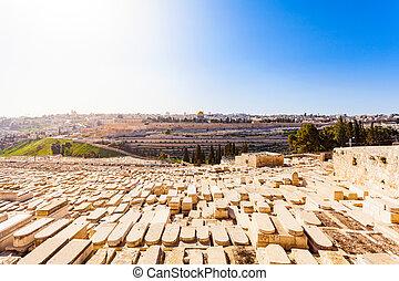 ogive, vecchio, ebreo, monte, cimitero, israele, gerusalemme