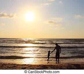 oglądając, ojciec, syn, morze