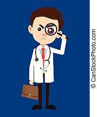 oglądając, szkło powiększające, doktor, -, profesjonalny