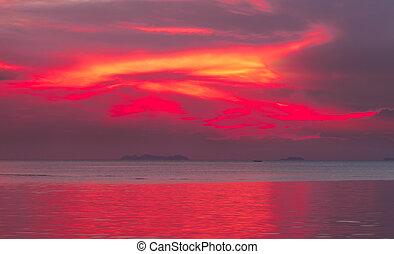 ognisty, ogień, wieczorny, niebo, morze, zachód słońca, piękny