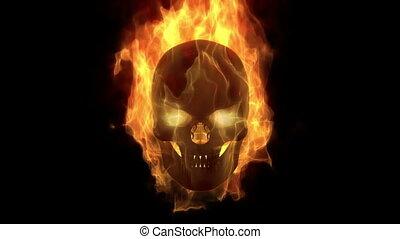 ognisty, tatuś, płonący, czaszka, pętla