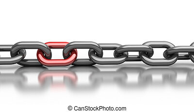ogniwo, łańcuch, czerwony
