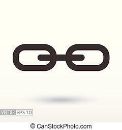 ogniwo, płaski, icon., znak, łańcuch