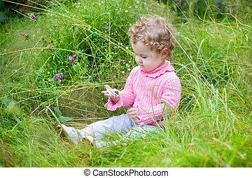 ogród, ślimak, amant, dziewczyna niemowlęcia, godny podziwu...