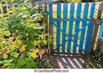 ogród, drewniany, brama