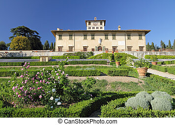 ogród, i, willa, la, petraia