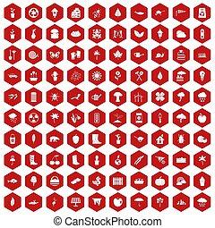 ogród, ikony, materiał, 100, sześciokąt, czerwony