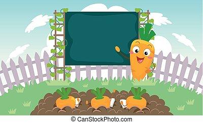 ogród, ilustracja, klasa, marchew, nauczyciel, maskotka