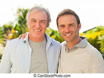 ogród, jego, patrząc, ojciec, aparat fotograficzny, syn