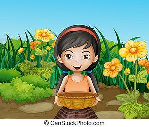 ogród, młody, dzierżawa, kosz, dziewczyna, opróżniać