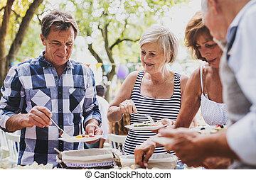 ogród, rodzina, zewnątrz, backyard., partia, albo, celebrowanie