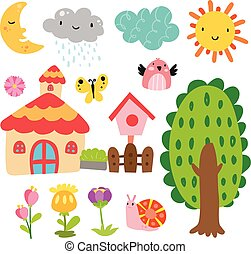 ogród, wektor, zbiór, projektować