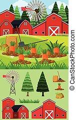 ogród, zagroda, scena, marchew, czerwona stodoła