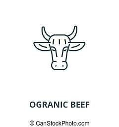 Ogranic beef vector line icon, linear concept, outline sign, symbol