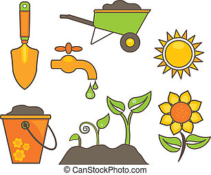 ogrodnictwo, elementy, ilustracja