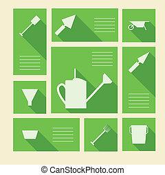 ogrodnictwo, ikony, tekst, wektor, zielony, miejsce, narzędzia