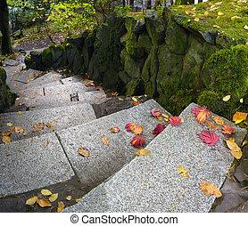 ogrodowa ścieżka, granit, kamień, kroki