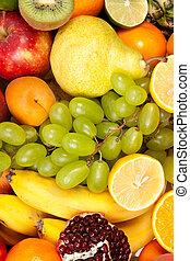 ogromny, świeży, grupa, owoce