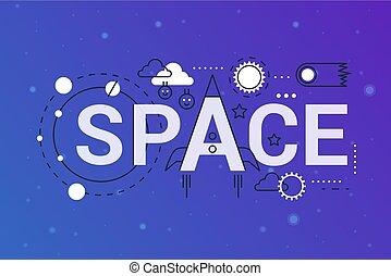 ogromny, galaktyka, wszechświat, 2019, słowo, modny, skład, pojęcie, banner., szkic, uderzenie, przestrzeń, planeys, exploring., płaska lina, ikony, tytuł, typography.