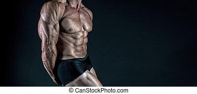 ogromny, mięśnie, treningi, pakuje, nutrition., supplements., sześć, do góry, muskularny, wyczerpujący, tło., czarnoskóry, wynik, poprawny, zamknięcie, białko, tułów, actions., pociągający