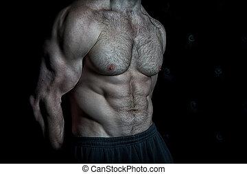 ogromny, mięśnie, treningi, pakuje, nutrition., sześć, spojrzenia, muskularny, wyczerpujący, tło., czarnoskóry, wynik, poprawny, tułów, cyple, przygotowując, actions., osiągnąć, pociągający