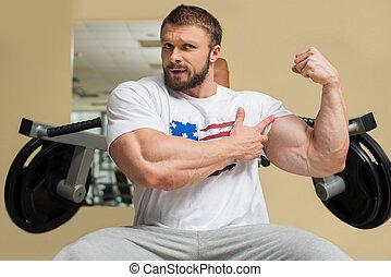 ogromny, muscles., silny człowiek