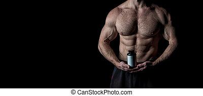 ogromny, pakuje, mięśnie, przyłączeniowy, bio, tułów, sześć, spojrzenia, muskularny, wyczerpujący, tło., benefits., czarnoskóry, wynik, poprawny, treningi, cyple, nutrition., osiągnąć, pociągający