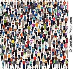 ogromny, tłum, ludzie