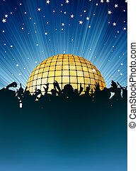 ogromny, tłum, ludzie, taniec, ręka., eps, 8