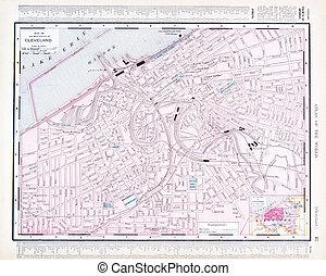 oh, cidade, eua, mapa, cor, rua, cleveland, ohio