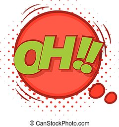 Oh, comic speech bubble icon, pop art style