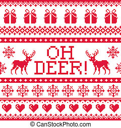 Oh deer red pattern, Christmas seamless design, winter...