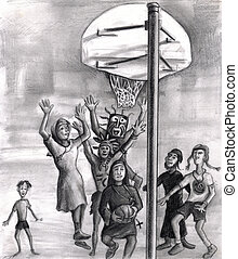 Oh, holy one. Religious playing basketball.