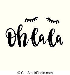oh, la, la, mão, lettering, frase, branco