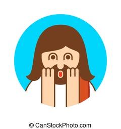 Oh my god Jesus emotion. OMG Christos Emoji. exclamation is...
