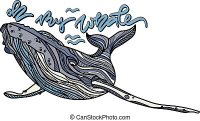 Oh my whale vector illustration.