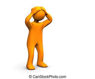 OH NO! - Orange sadly cartoon isolated on white.