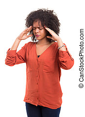 Oh not again ! - Young woman with an headache, isolated over...
