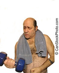 ,Man with a towel over his shoulders, using a dumbell, over white