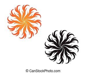 oheň, emblém, horký, emblém, a, symbol, šablona, ikona