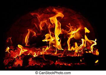oheň, fireplace., hořící