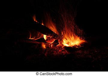 oheň, jas, večer