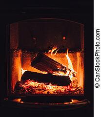 oheň, krb, hořící